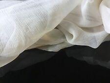 """NEW French 100% Silk Cream Crinkle Chiffon Fabric 55"""" 139cm Dress Scarf Coco Sew"""