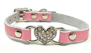 Dog Puppy Collar - Soft Rhinestone Heart Bling Collar - XXS, XS, S
