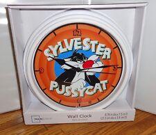 "SYLVESTER THE CAT WALL CLOCK. 9"" DIA. LOONEY TUNES CARTOONS....FREE SHIPPING"