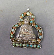 Raffinato Argento Corallo & Turchese Ciondolo Di Buddha Nepal/Tibet Antico ?