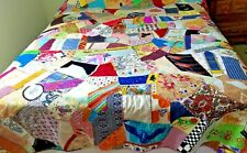 "Handmade Quilt Extra Crazy Embroidered 82 x 90"" Thin Looks Unused 1980s See Pics"