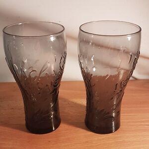2 x McDONALDS Coca Cola Tumblers 16 Ounce glasses Collectable Coke Blue Green