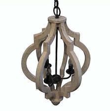 VINTAGE FRENCH FARMHOUSE CROWN STYLE GRAY WHITE WASH WOOD PENDANT CHANDELIER