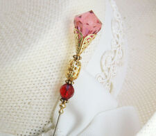 Red Hatpin With Red Crystal And Beads On Gold Brass Finish - 8 Inch