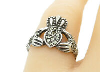 925 Sterling Silver - Vintage Marcasite Traditional Claddagh Ring Sz 7 - R11293