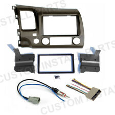 Taupe Double Din Car Radio Dash Kit + Wiring Harness fits 2006-2011 Honda Civic