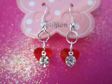 Happy Valentines Jewelry Crystal Red Heart Dangle Earrings