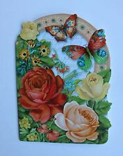 *PUNCH STUDIO Set of 4 Die Cut Blank Note Cards ~ Butterfly ~ Roses ~ Floral