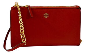 NWT TORY BURCH CARTER SLIM Pebbled Leather Crossbody - Red Apple