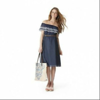 Calypso St. Barth XL Navy Blue embroidered blouson dress off shoulder cocktail