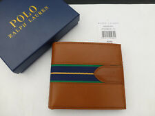 POLO RALPH LAUREN Leather Wallet Web STRIPE Bifold Slim Case Brown Wallet BNIB