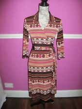 PHASE EIGHT STRETCH SPOTTED STRIPE WRAP DRESS 10 AUTUMN COLOURS BROWN ORANGE RED