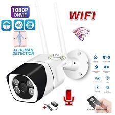 1x Wireless Wifi IP Camera 1080P Outdoor IR Bullet ONVIF SD Card Slot Audio