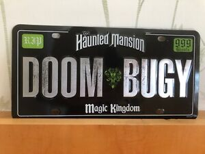 Disney DOOM BUGY Buggy License Number Plate Haunted Mansion - rare