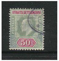Malaya Straits Settlements - 1905/6, 50c Dull Green & Carmine - Used - SG 135/a