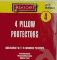 PILLOW PROTECTORS PILLOW COVERS MILDEW FUNGAL PROOF STAIN RESISTANT WASHABLE X 4