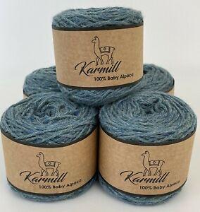Alpaca Wool Skeins 100% Baby Alpaca Yarn DK Weight Lot of 5 Color Indigo 5HC02