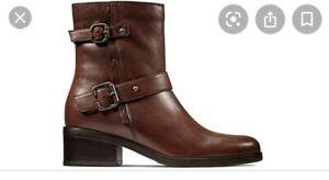 Clarks Women's Mascarpone BIK Boot Brown Leather 4 D
