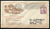 UNITED STATES 1932 DANIEL WEBSTER CACHETED FIRST DAY COVER FRANKLIN NH CANCEL