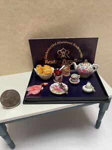 Vintage Reutter Porcelain Floral Tea Pot & Jam Dollhouse Miniature 1:12
