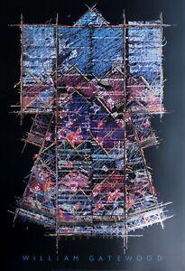 William Gatewood Black Kimono Hochwertiger Druck mit Metallfolienprägung