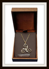BRONZE CELTIC TRISKELE SPIRAL PENDANT ~ FROM ST JUSTIN FREE P&P ~ MADE IN THE UK