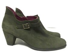 Arche LN Ankle Booties Green Suede Side Zip Round Toe Womens Size EU38/US7.5