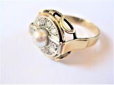 Art Deco Ring Gold 585 mit Perle und Diamanten, 5,6 g