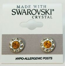 9mm Yellow Silver Crystal Circle Rondelle Stud Earrings Made with SWAROVSKI