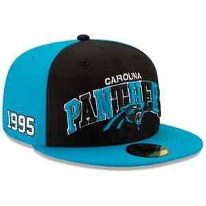 SIZE 7 1/4 NEW ERA FITTED 5950 CAROLINA PANTHERS NFL 1995 100 HAT CAP BLUE BLACK