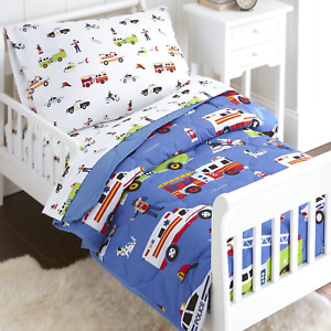Wildkin 4 Piece Toddler Bed-in-A-Bag, 100% Microfiber Bedding Set, Includes Flat