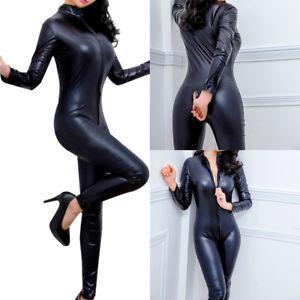 AU Women Faux Leather Wet Look Bodysuit Catsuit Jumpsuit Clubwear Costume S-XL