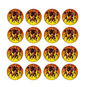 24x The Incredibles Edible Cupcake Toppers Birthday Wafer Paper 4cm (uncut)
