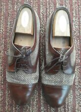 DOMANI Johnston &Murphy Italy brown cap toe oxfords woven dress shoes 10 M mens
