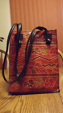 Boho Chic Africa Animal Tooled Leather Shoulder Bag Purse Tote Vintage