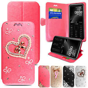 3D Diamond Flip Wallet Leather Case Cover For Nokia 8000 6300 225 215 150 4G