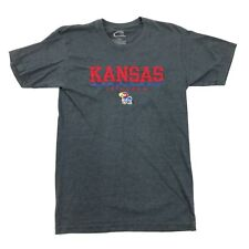 Kansas JAYHAWKS Shirt Adult Medium Long Sewn On Spell Out Embroidered Logo NCAA