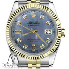 Rolex 36mm Datejust 2 Tone Tahitian MOP Mother of Pearl 8+2 Diamond Men's Watch