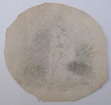 Petit Dessin Miniature Femme Enfant ETIENNE CHARLES LEGUAY c.1800 #3