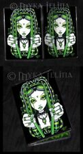 Green Fairy Toxic Cybergoth Dark Industrial Faerie ID Card Holder Vivian Myka