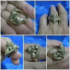 Brass Ring Size 10 Rahu & Moon Power of Immortality & Fortune Thai Amulet A4-F