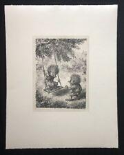 A. Paul Weber, Schaukel, aus dem Nachlass, Lithographie, 1980, Signaturstempel