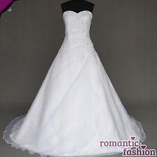 ♥NEU:Gr.34,36,38,40,42,44,46,48,50,52 od 54 Brautkleid Hochzeitskleid Weiß+W025♥