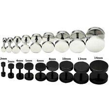 New Round Barbell Stainless Steel Screw Back Men's Earring Ear Studs 3-14mm USA