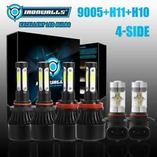 9005 H11 4-Sides Hi-Lo LED Headlight+9145 H10 Fog for 2011-18 Ram 1500 2500 3500
