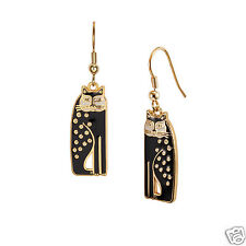 Laurel Burch Gold Tone Siamese Cat Black Cloisone Shiney Earrings New Collection