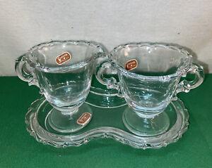 vtg 3pc FOSTORIA Clear Glass Creamer Sugar bowl Serving Tray set. ORIGINAL TAGS!