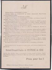 *1909 Faire-part décès Hubert-Edouard-Charles de POYFERRÉ de CÈRE