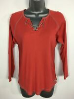 WOMENS AMERICAN EAGLE OUTFITTERS RED 3/4 SLEEVE LACE FRONT T-SHIRT TOP L LARGE
