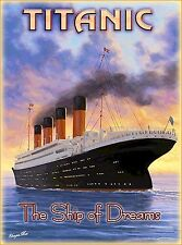 Titanic Ship of Dreams White Star Ocean Liner Travel Advertisement Poster Print